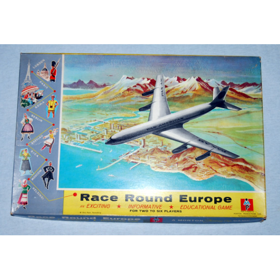 Race Round Europe - Travel Board Game by Morton Productions Ltd (1950/1960's)